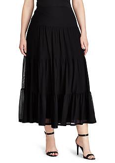 Lauren Ralph Lauren Plus Size Tiered Mesh Maxiskirt