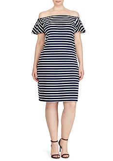 Lauren Ralph Lauren Plus Size Striped Off-the-Shoulder-Dress