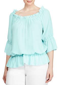 Lauren Ralph Lauren Plus Size Georgette Off-the-Shoulder Top