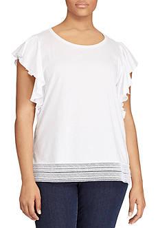 Lauren Ralph Lauren Plus Size Lace-Hem Stretch Cotton Tee