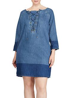 Lauren Ralph Lauren Plus Size Lace-Up Denim Shift Dress