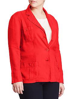 Lauren Ralph Lauren Plus Size Linen 3-Button Blazer