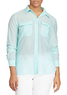 Lauren Ralph Lauren Plus Size Cotton-Silk Shirt