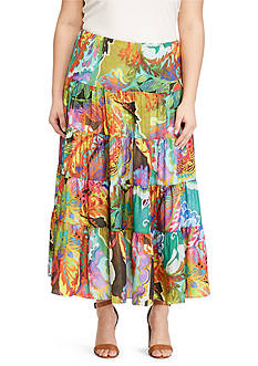 Lauren Ralph Lauren Plus Size Floral-Print Maxi-Skirt