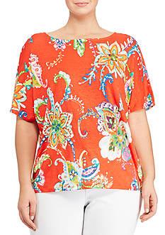 Lauren Ralph Lauren Plus Size Floral-Print Linen Top