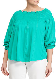 Lauren Ralph Lauren Plus Size Smocked Off-the-Shoulder Top
