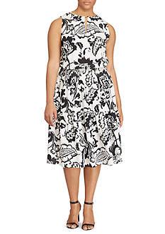 Lauren Ralph Lauren Plus Size Floral-Print Keyhole Dress