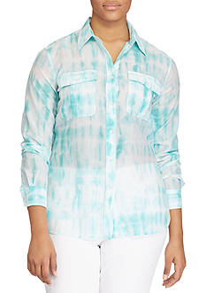 Lauren Ralph Lauren Plus Size Tie-Dye Button-Down Shirt