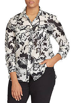 Lauren Ralph Lauren Plus Size Paisley Cotton-Silk Shirt