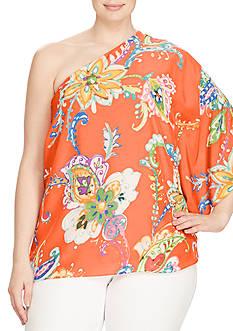 Lauren Ralph Lauren Plus Size Floral Crepe One-Shoulder Top