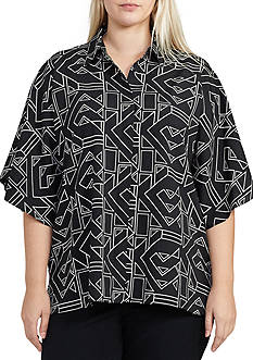 Lauren Ralph Lauren Plus Size Karlotte Short Sleeve Shirt