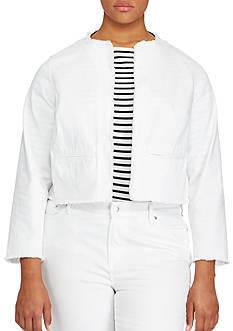 Lauren Ralph Lauren Plus Size Frayed Denim Jacket