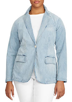 Lauren Ralph Lauren Plus Size Single-Button Denim Blazer
