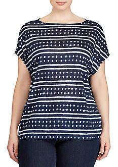 Lauren Ralph Lauren Plus Size Tie-Dye Linen Knit Top