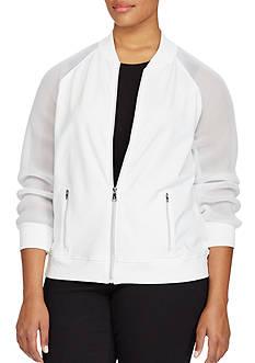 Lauren Ralph Lauren Plus Size Mesh-Sleeve Bomber Jacket