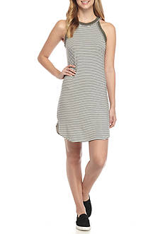 H.I.P Striped Dress with Halter Neck Line