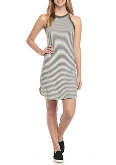 H.I.P Striped Dress with Halter Neck Line