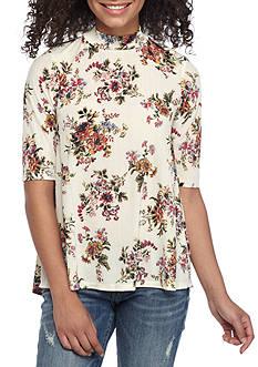 H.I.P Short Sleeve Mock Neck Floral Top