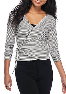 H.I.P Stripe Wrap Front Knit Top