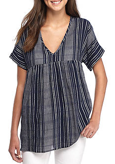 H.I.P Short Sleeve Striped Babydoll Tunic