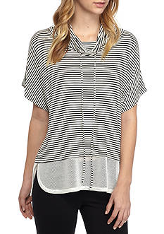 H.I.P Short Sleeve Striped Tunic With Mesh Bottom