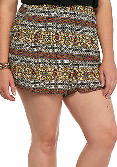 H.I.P Plus Size Printed Crepe Shorts