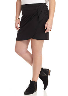 H.I.P Plus Size Side Tie Short Midi Knit Wrap Skirt