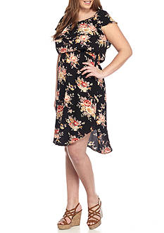 H.I.P Plus Size Floral Ruflle Midi Dress