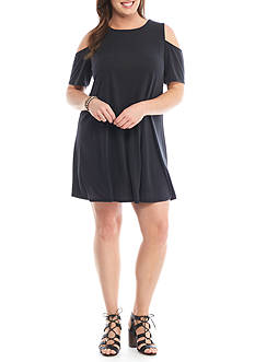H.I.P Plus Size Cold Shoulder Swing Dress
