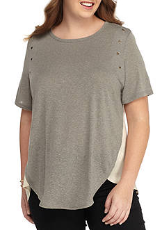 H.I.P Plus Size Grommet Shear Back Top