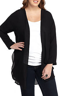 H.I.P Plus Size Woven Flyaway Duster Jacket