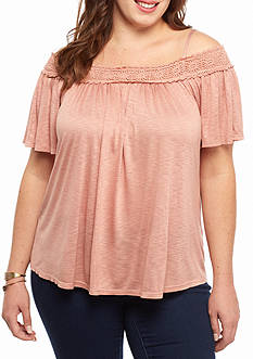 H.I.P Plus Size Crochet Trim Cold Shoulder Top