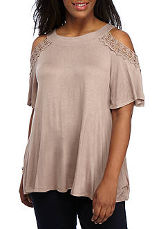 H.I.P Plus Size Crochet Cold Shoulder Top