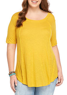 H.I.P Plus Size Ribbed Knit Swing Tee