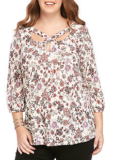 H.I.P Plus Size Lattice Floral Print Knit Top