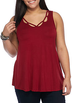 H.I.P Plus Size Scalloped Neckline Sleeveless Tank