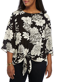 H.I.P Plus Size Woven Floral High Neck Blouse