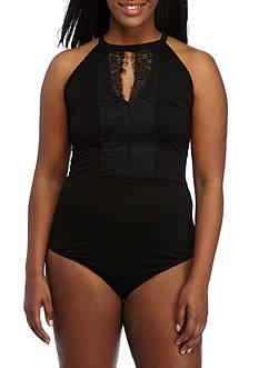 H.I.P Plus Size Keyhole Lace Body Suit