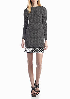 MICHAEL Michael Kors Long Sleeve Printed Boat Neck Dress
