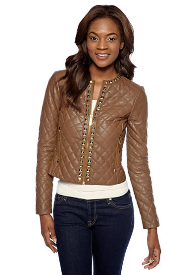 MICHAEL Michael Kors Quilted Leather Jacket with Stud Embellishments