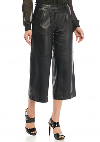 MICHAEL Michael Kors Leather Pleated Culotte Pants