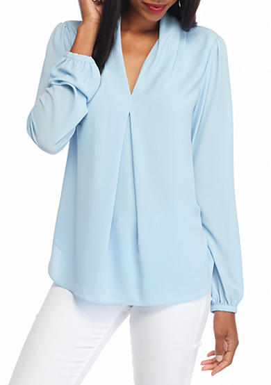 MICHAEL Michael Kors Solid V-Neck Inverted Pleat Blouse
