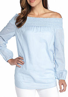 MICHAEL Michael Kors Wilson Stripe Off The Shoulder Blouse