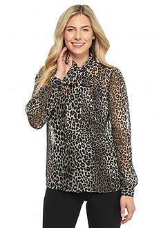 MICHAEL Michael Kors Printed Tie Front Button Down Top