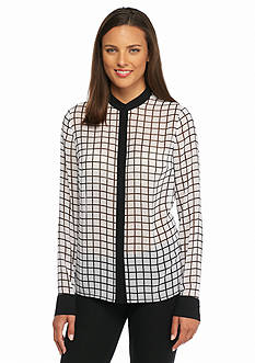 MICHAEL Michael Kors Printed Button Down Blouse