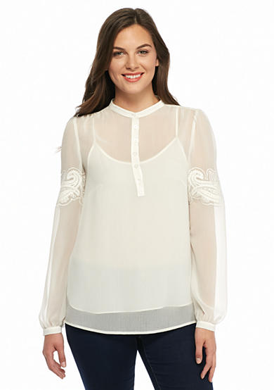 MICHAEL Michael Kors Chiffon Embroidered Sleeve Henley Blouse