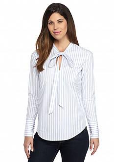 MICHAEL Michael Kors Striped Tie Neck Shirt