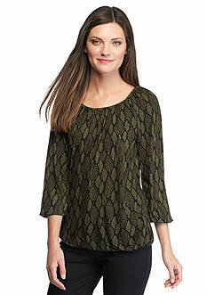 MICHAEL Michael Kors Diamond Snake Print Peasant Top
