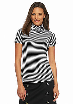 MICHAEL Michael Kors Striped Turtleneck Top