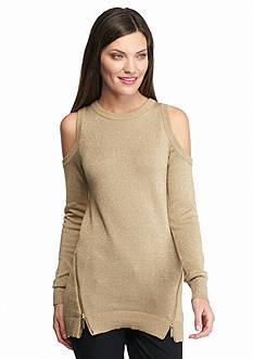 MICHAEL Michael Kors Metallic Cold Shoulder Sweater